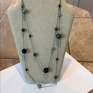 FREE w/purchase long silver black bead necklace